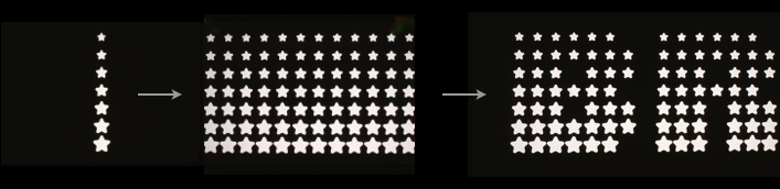 Pictures detailing how the star font was developed and applied to the logotype.