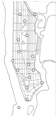 Linear map of Manhattan with landmarks identified with circles.