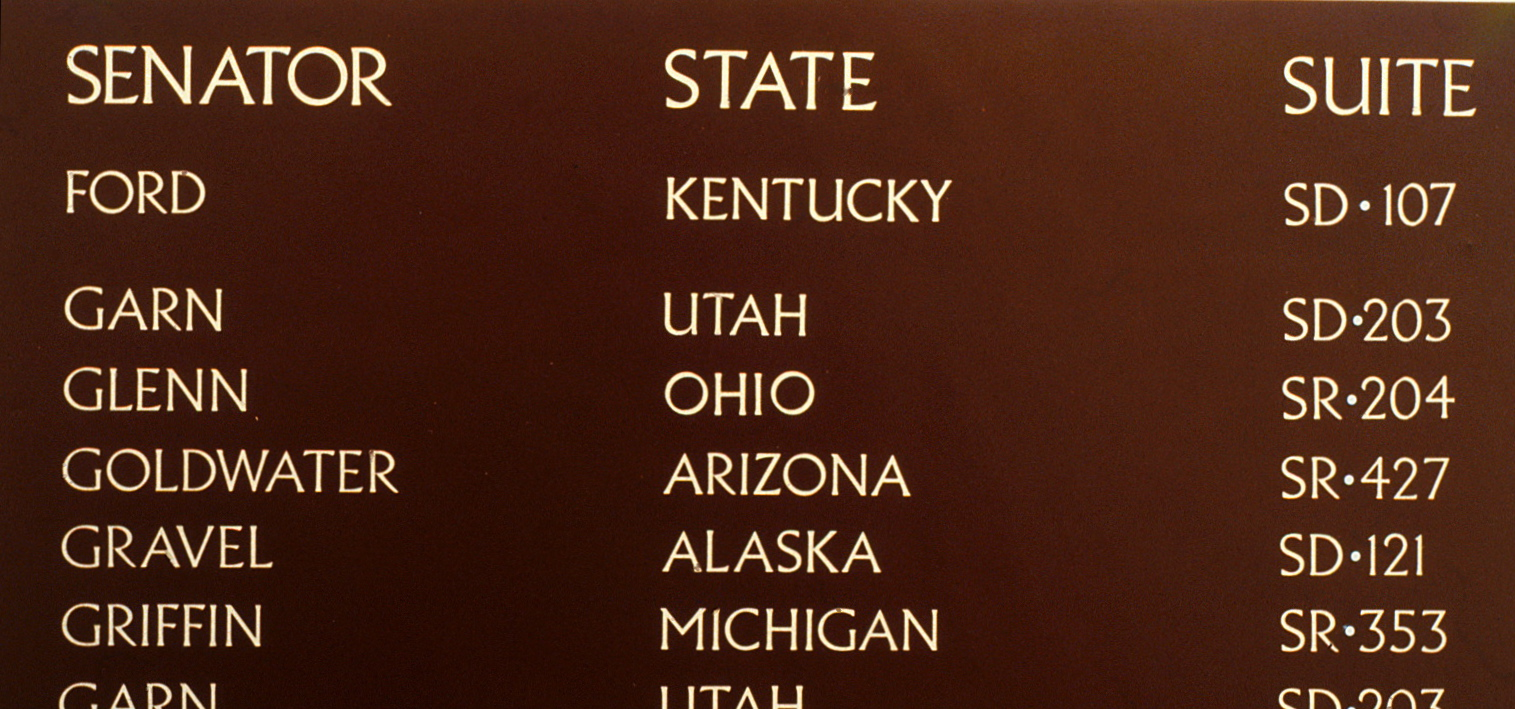 Several office entires on the Senate directory,  	featuring Seantors, their states, and their suites.