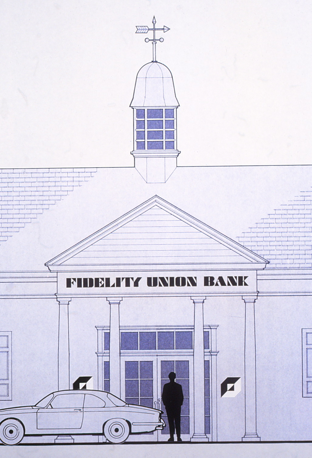 Elevation drawing featuring the logo and typface as it would appear on the frant of a typical bank building,          with a car and a person standing in front of it.