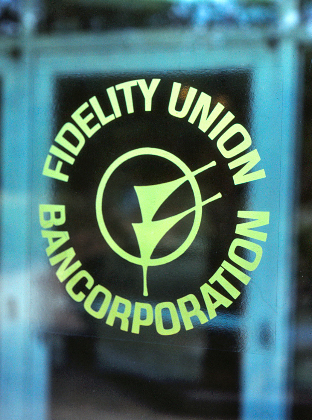 Photo of the old Fidelity Union Bancorporation logo and circular text around it.