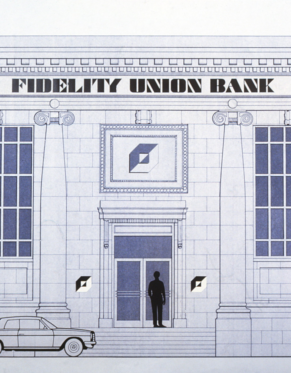 Closeup drawing of how the logo and typeface would look on the bank branch building.