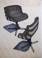 Marker drawing of two chairs drawn by Jerry Okuda