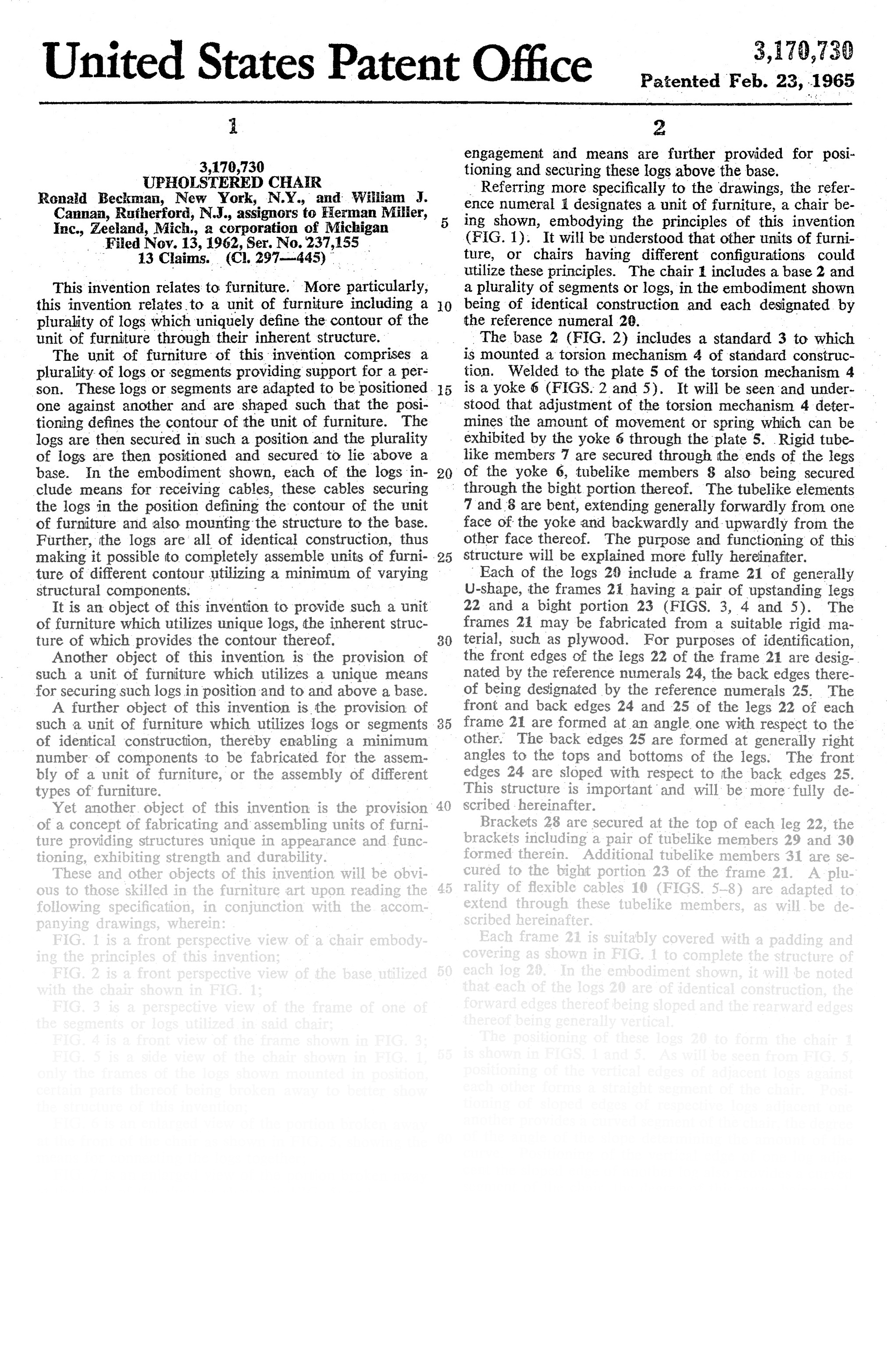 Text page detailing patent from the US Patent Office