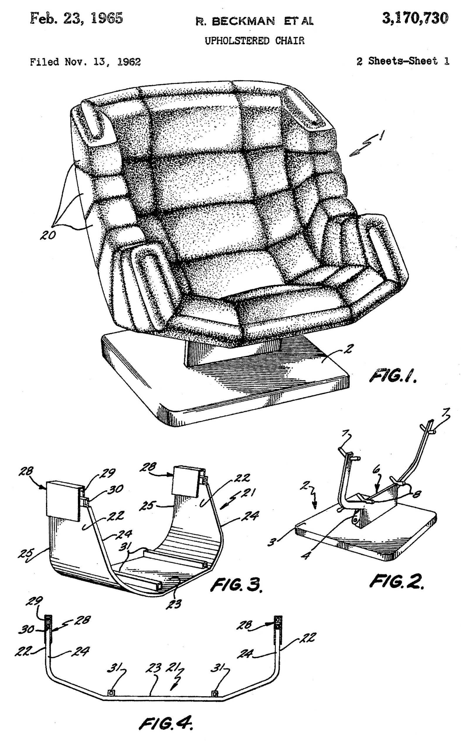 Segmented chair patent office drawing
