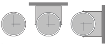 Diagram of three different clock mounting designs - wall, ceiling, and flag.