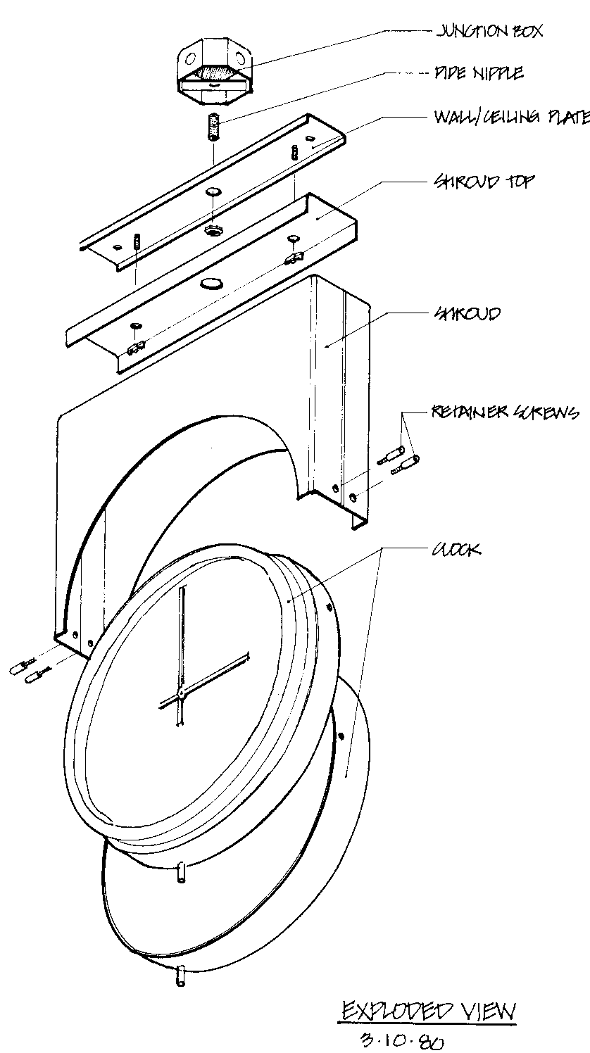 Exploded view drawing of isometric clock parts mounted to a wall or cieling