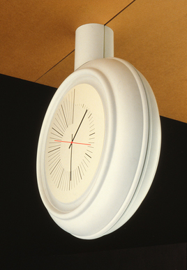 Oval mounted clock into ceiling concept