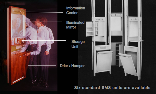 Time exposure photos of a man operating the hamper and moving the door open or closed.        	Text on this image point to the Information Center, Illuminated Mirror, Storage Unit, and the Drier & Hamper assembly.      	Three different white designs of the assembly are shown to the right.      	Beneath them, text says that there are six standard SMS units are available.
