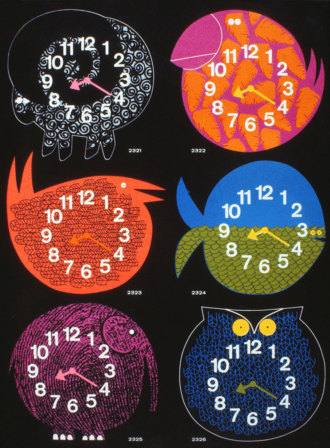 The collection of Zoo Timer clocks showing 6 different designs.