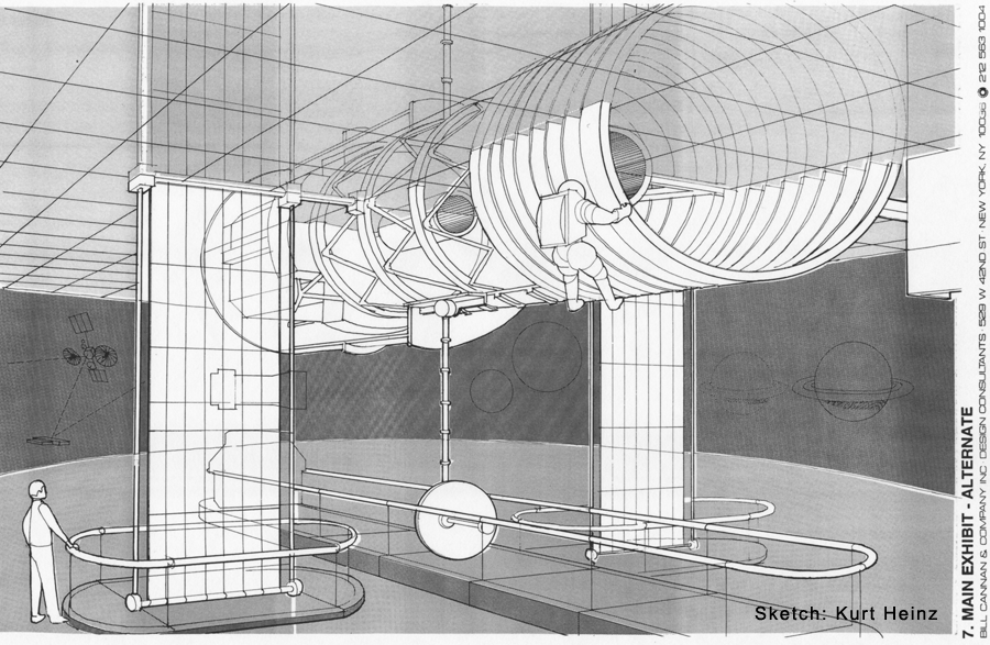 Hubble Exhibit Sketch of Rejected Roof Hanging Proposal