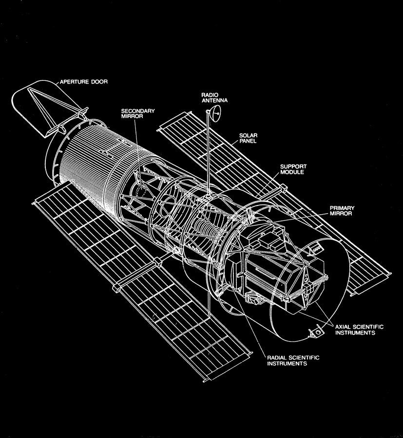 Drawing of Hubble          Telescope produced by NASA