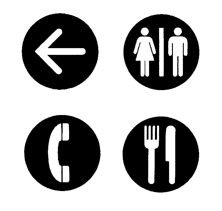 Symbols for various services, such as bathrooms and telephones