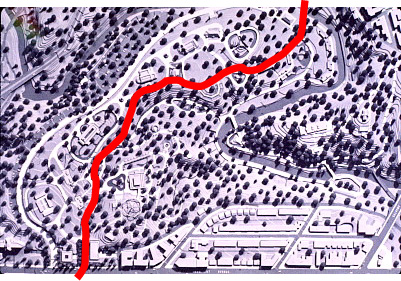 Map and plan of the Zoo's terrain with main artery    		identified in red