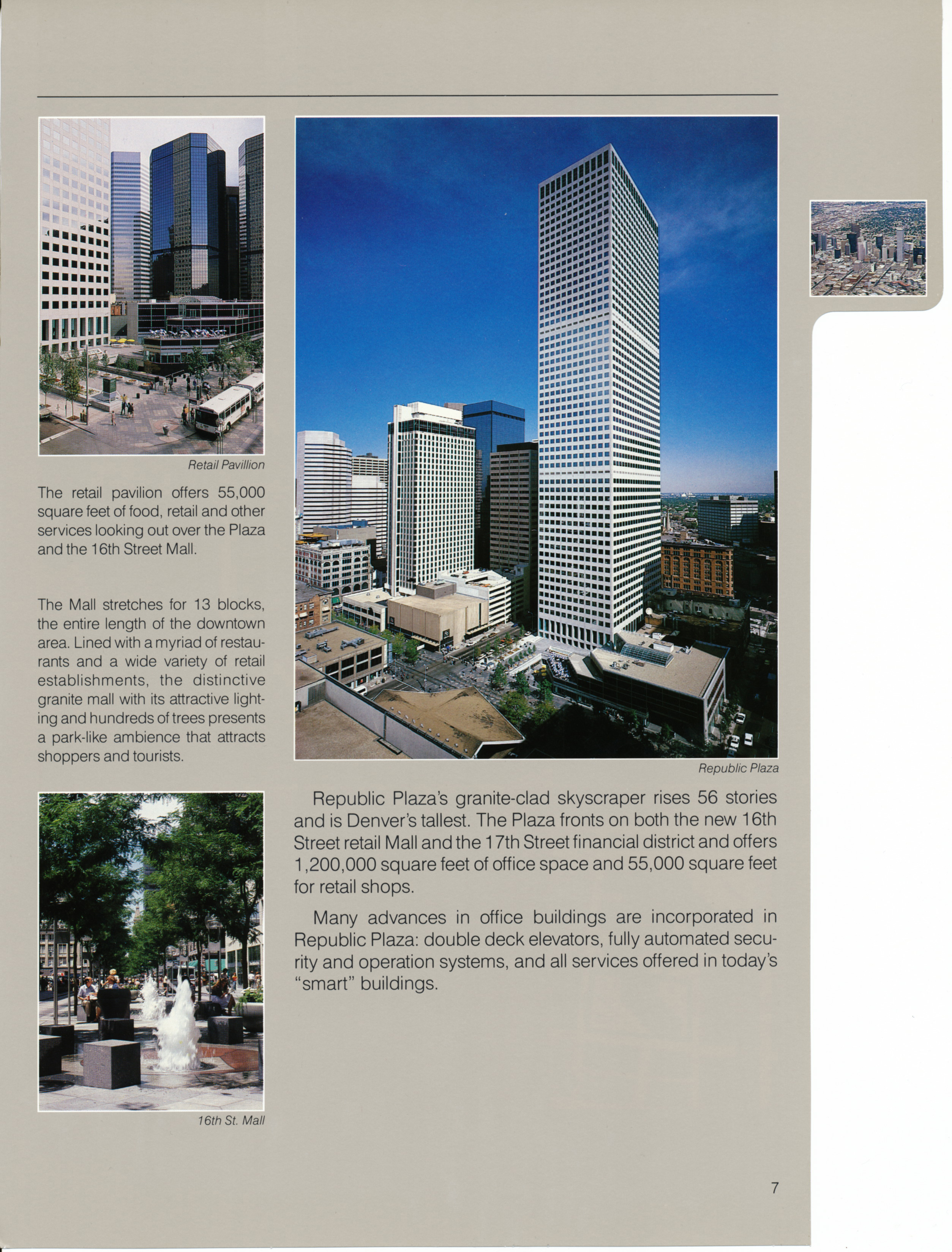 Brochure page for Republic Plaza, featuring aerial and interior images.
