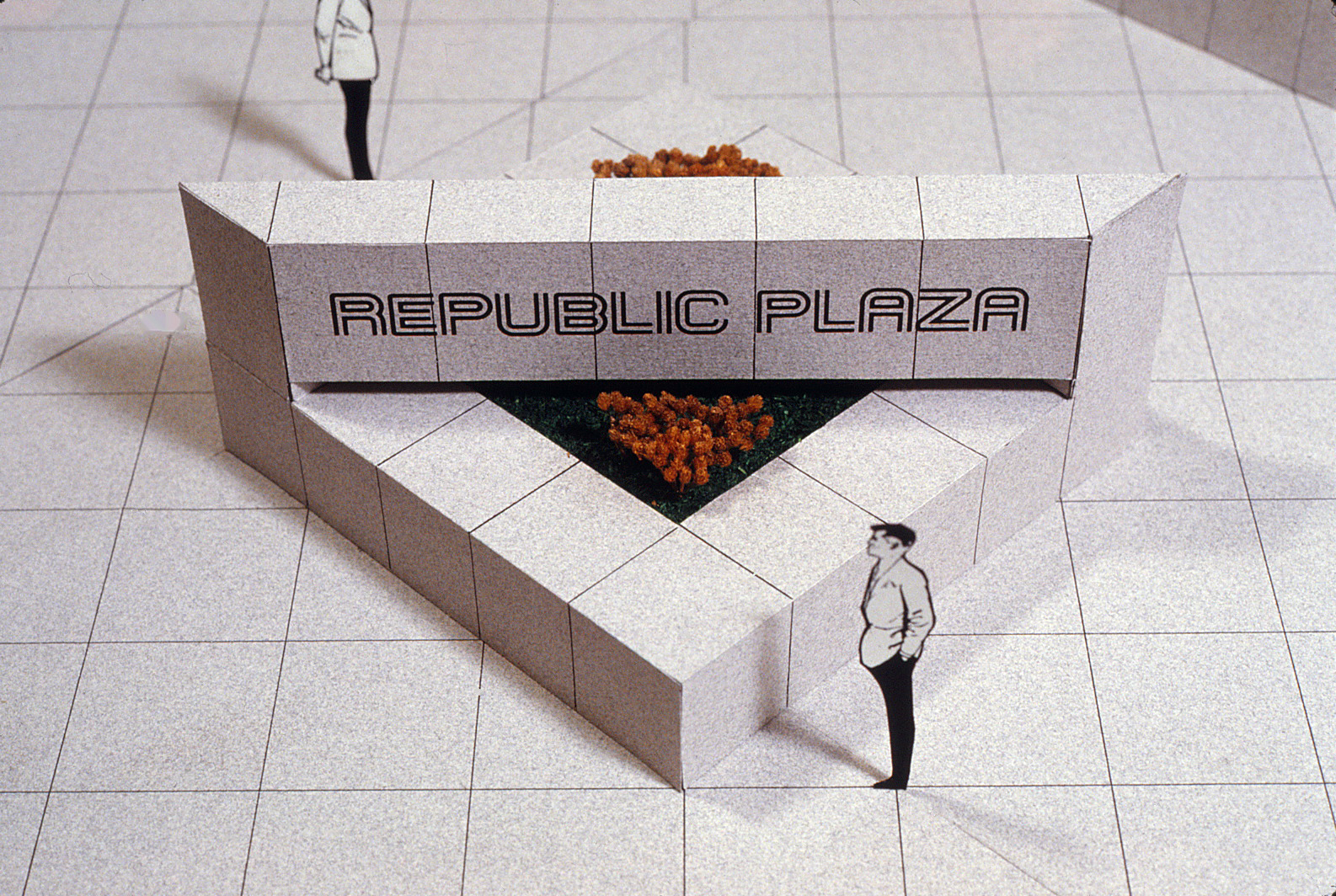 Drawing of the planned street corner planter with Republic Plaza written in stone above it.
