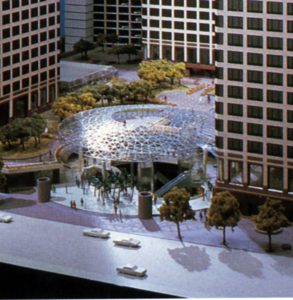 Overhead photograph of the plaza trellis design in steel and glass between the buildings.