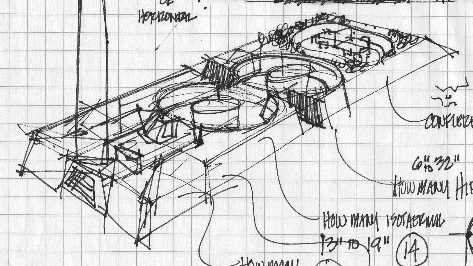 First sketch of the exhibit plan, shown above and at a diagonal.