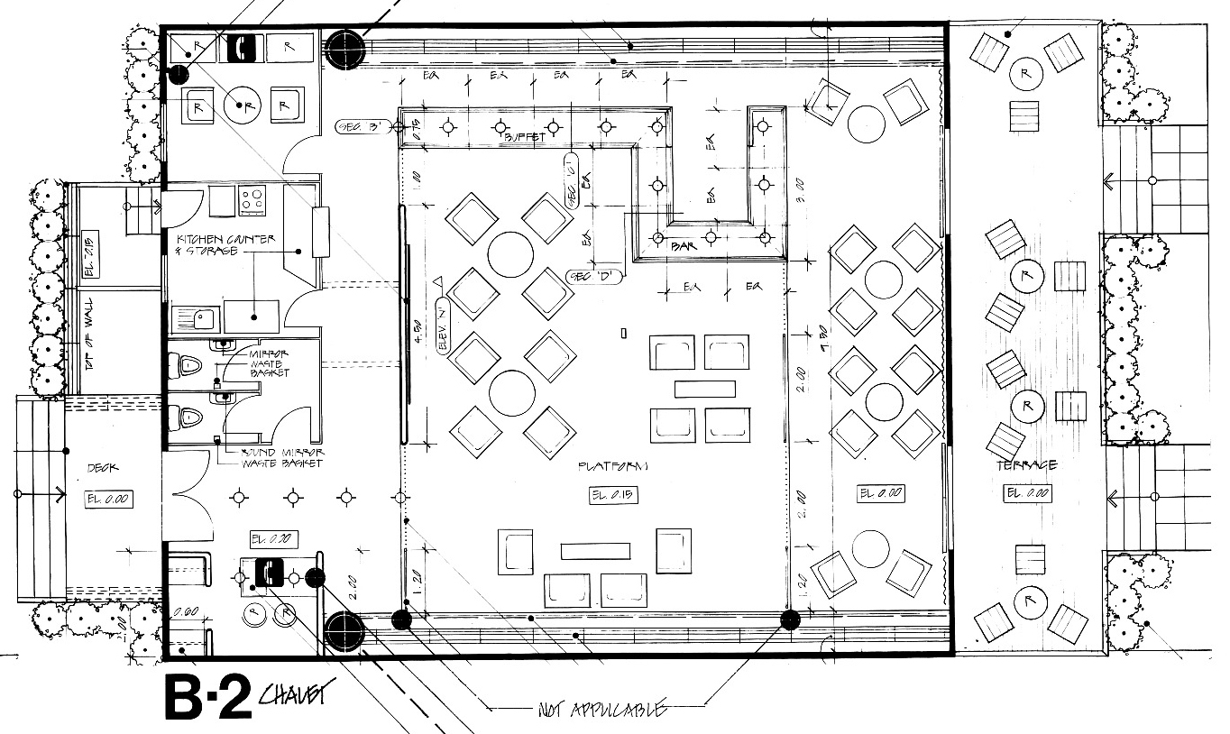 Floor diagram of chalet plan.