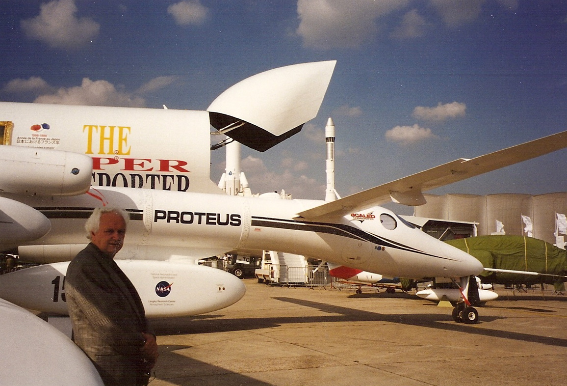 Bill Cannan pictured standing next to the Proteus plane.