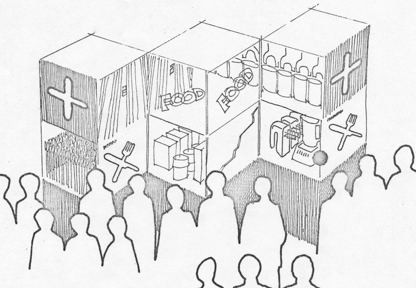 Concept sketch of people viewing exhibit