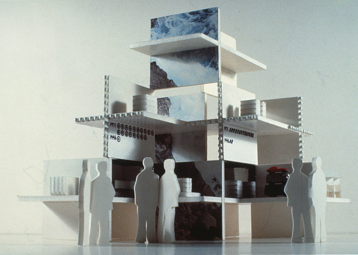 Model of exhibit display stacks