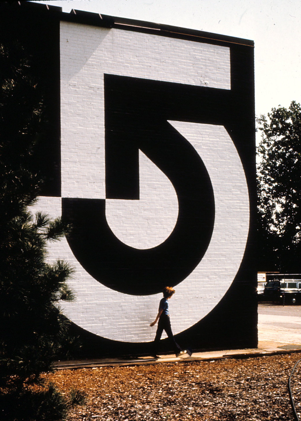 Side of building with Channel 5 symbol