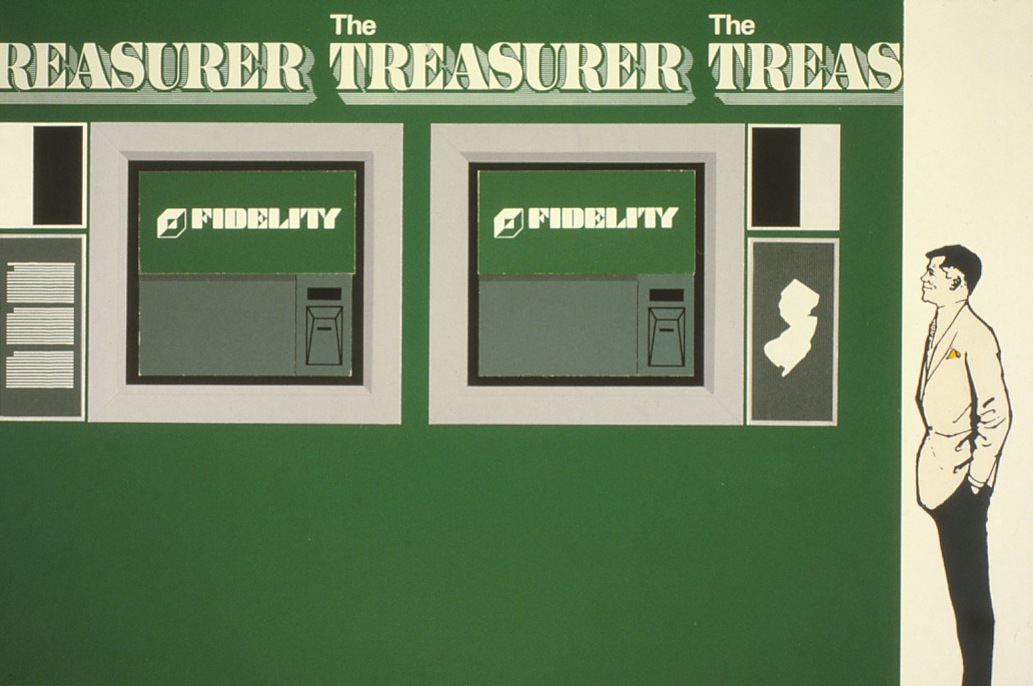 Drawing of The Treasurer script as it would appear appear above a pair of Automatic Teller Machines,          with a man standing beside them for perspective.