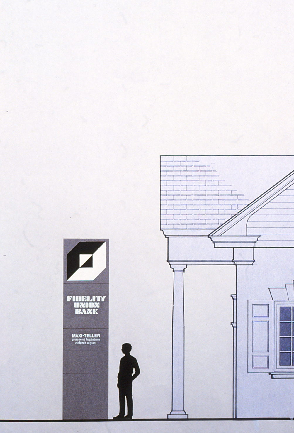 Elevation drawing featuring a pylon with logo and typface beside a typical bank branch structure with columns.