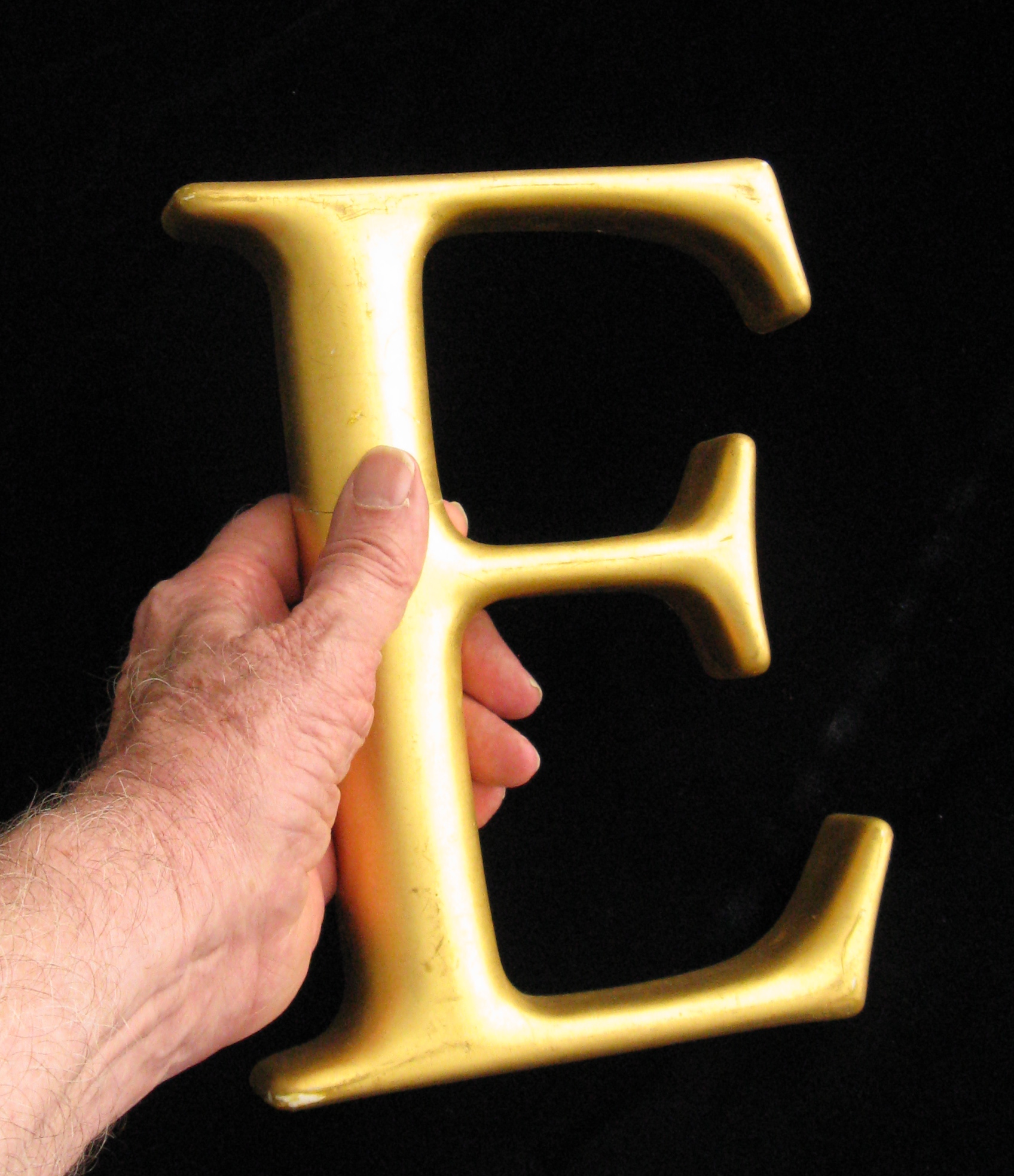 Left hand holding arge letter E in gold leaf.