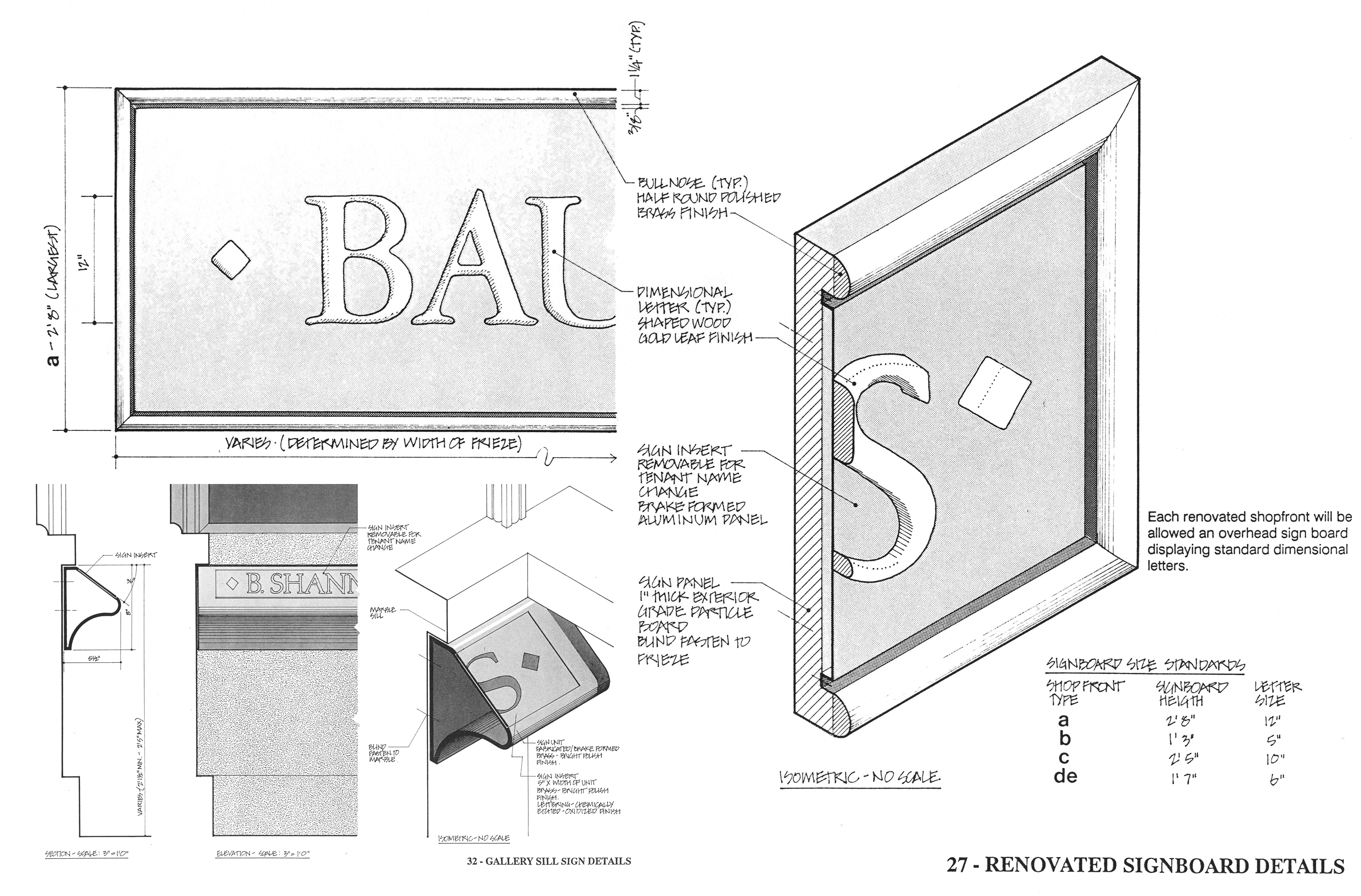 Mechanical drawings of signage details.