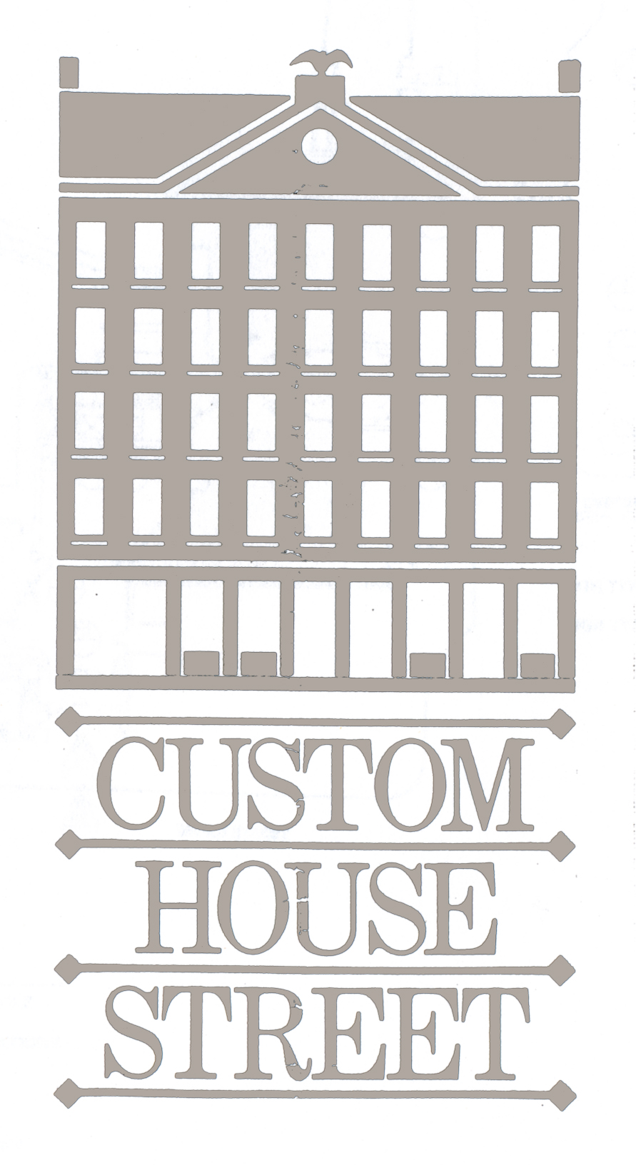 Custom House development logo, featuring the outline of the original 1810 Boston Customs House.