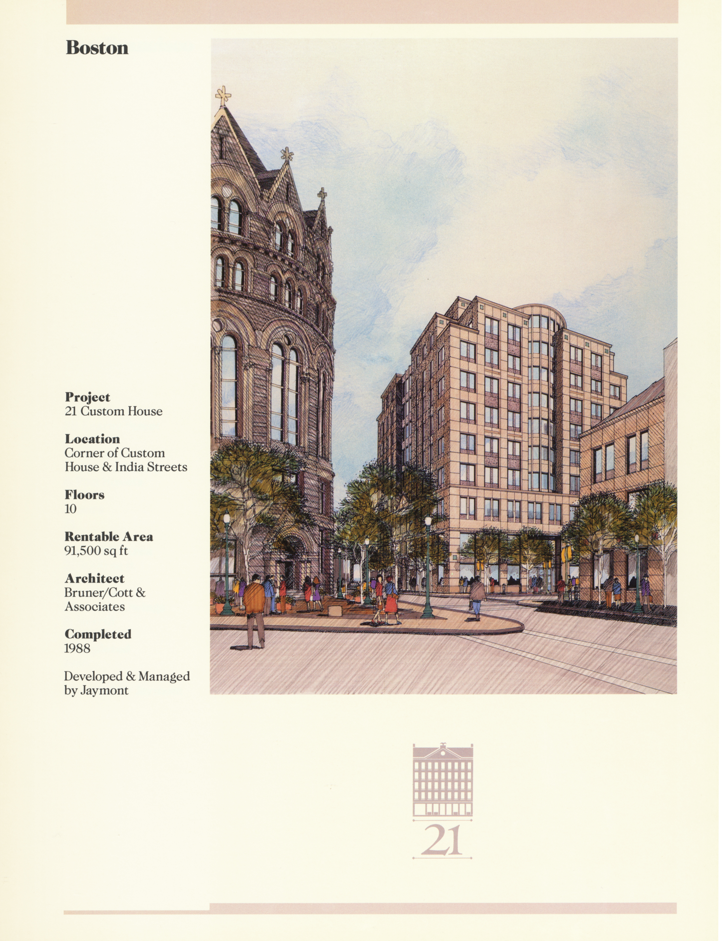 Fact sheet with building details and a large image of the building rendered before it was built.