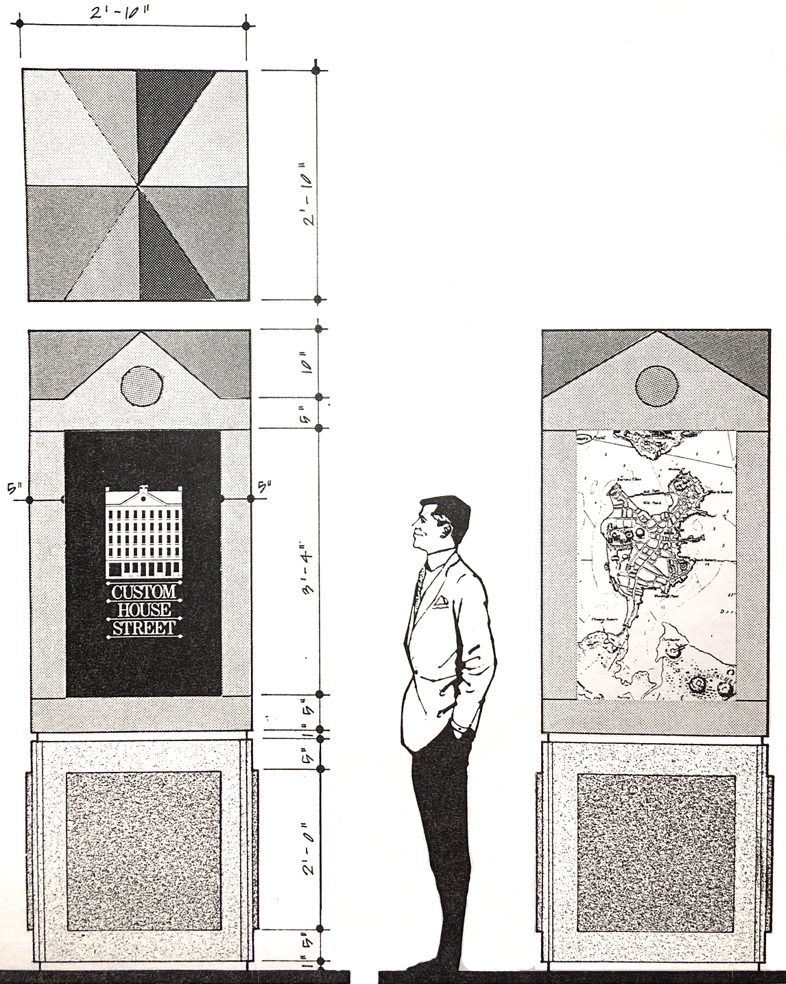 Drawing of how the standing pylons will look, with a man standing next to them and looking.           Letters A, B, C and D feature the progression of the logo and the three maps displayed.