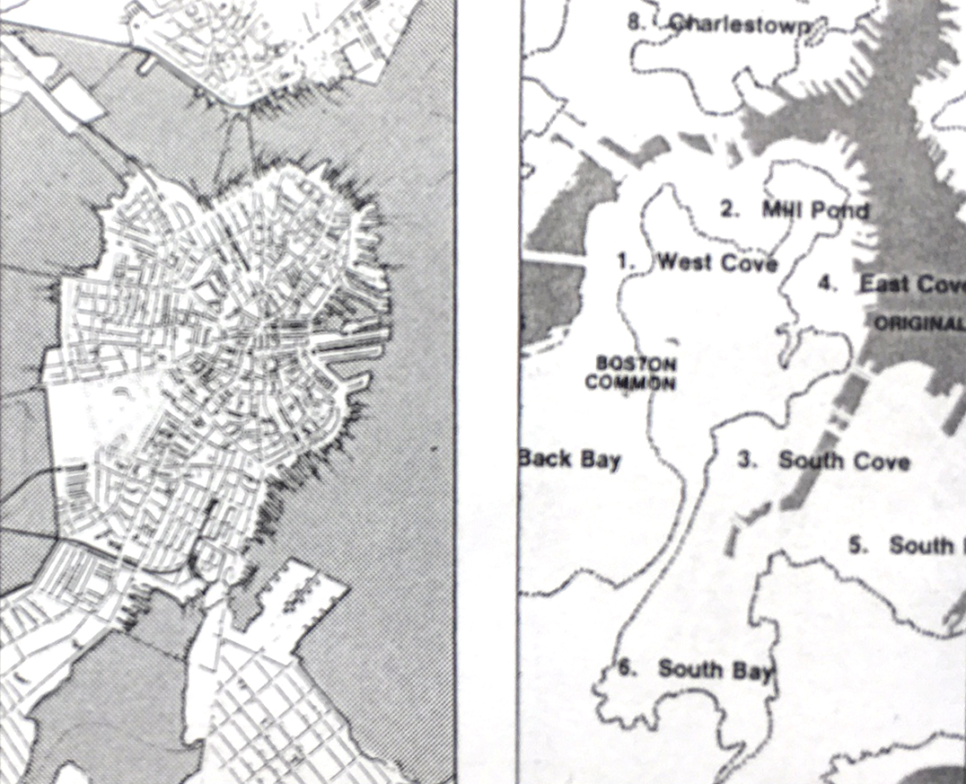 Two old maps of downtown Boston, showing how land filled in two large bays.