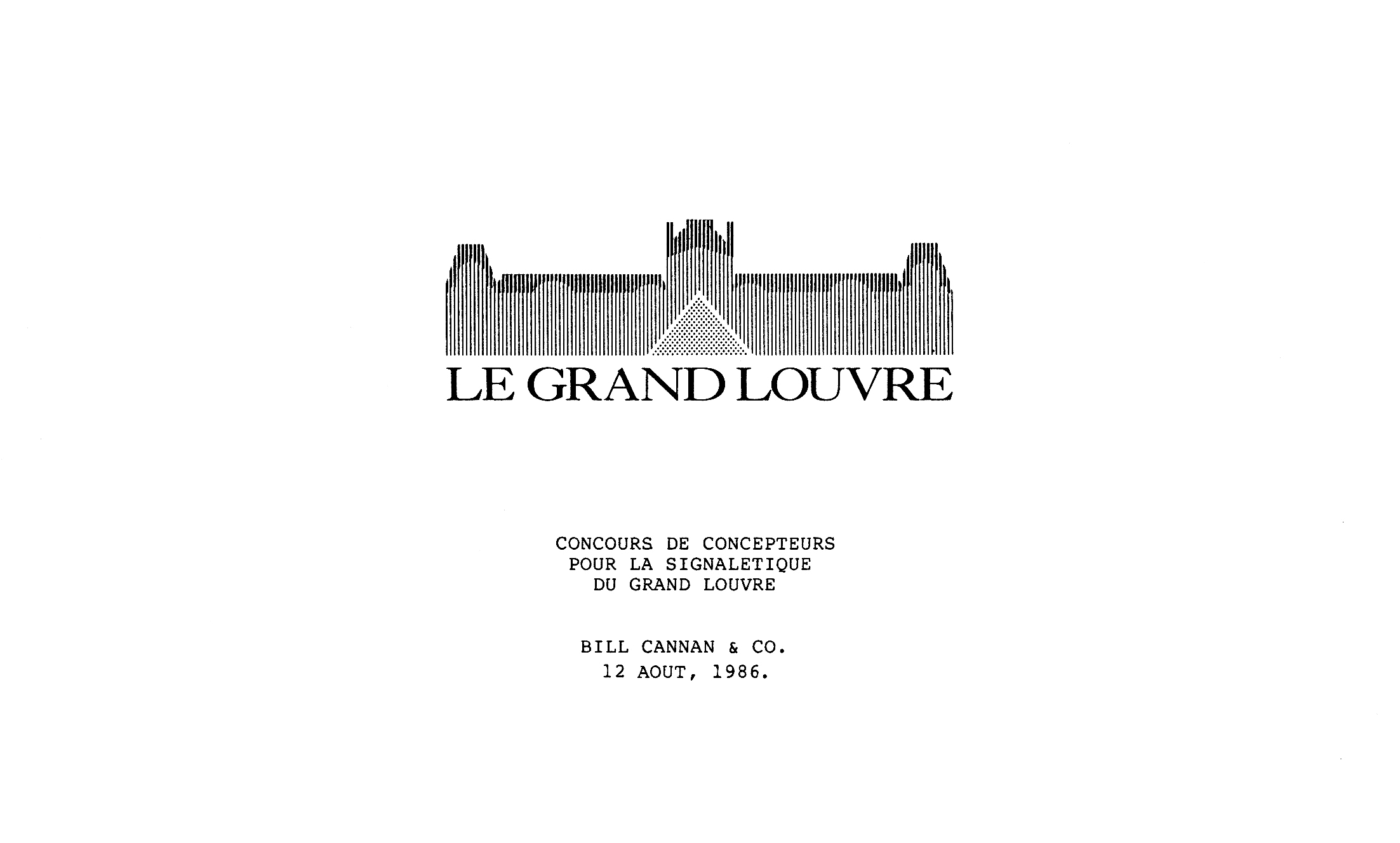 The cover of the Louvre Proposal Sketches Booklet, featuring the logo and dated August 12, 1986.