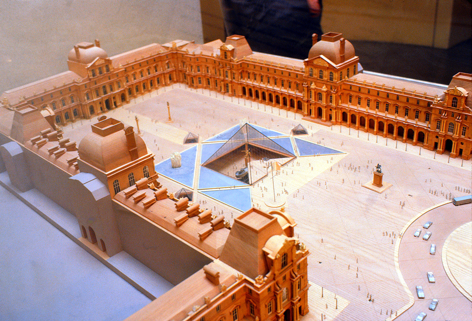 Aerial view of the model built of the Louvre Museum.