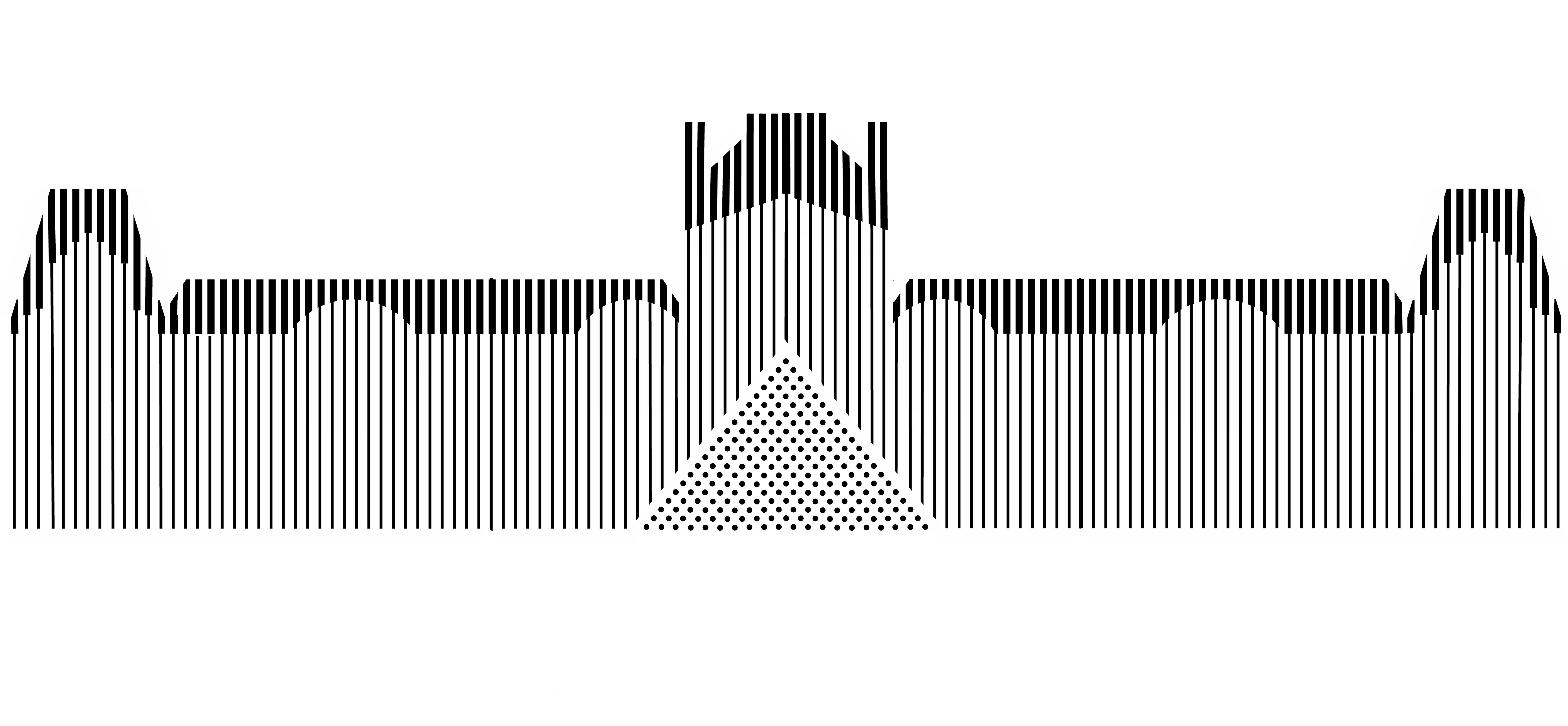 A graphic representation of the Louvre building using gray vertical lines of various darknesses.