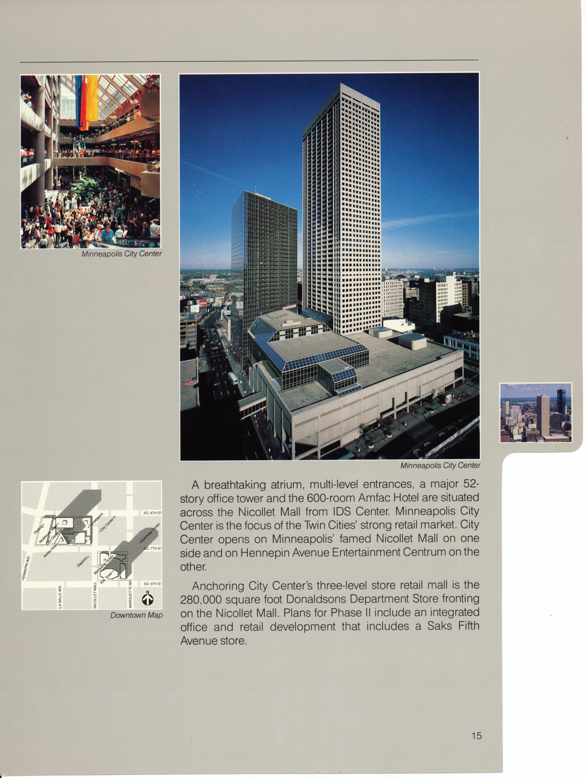 Brochure page for the City Center project, featuring aerial and interior images.