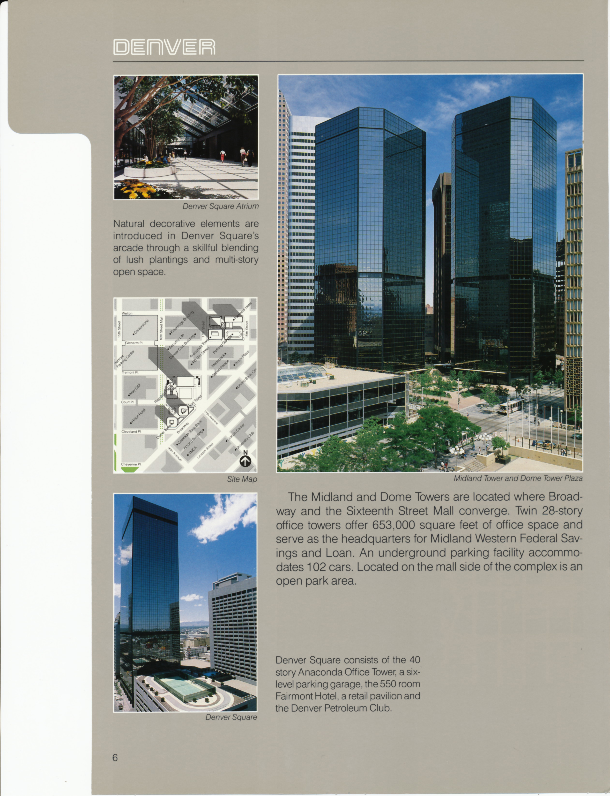 Brochure page for the Dome Towers project, featuring aerial and interior images.