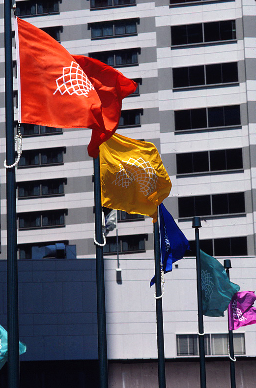 A line of different color flags flying on flagpoles with the plaza court logo on them.