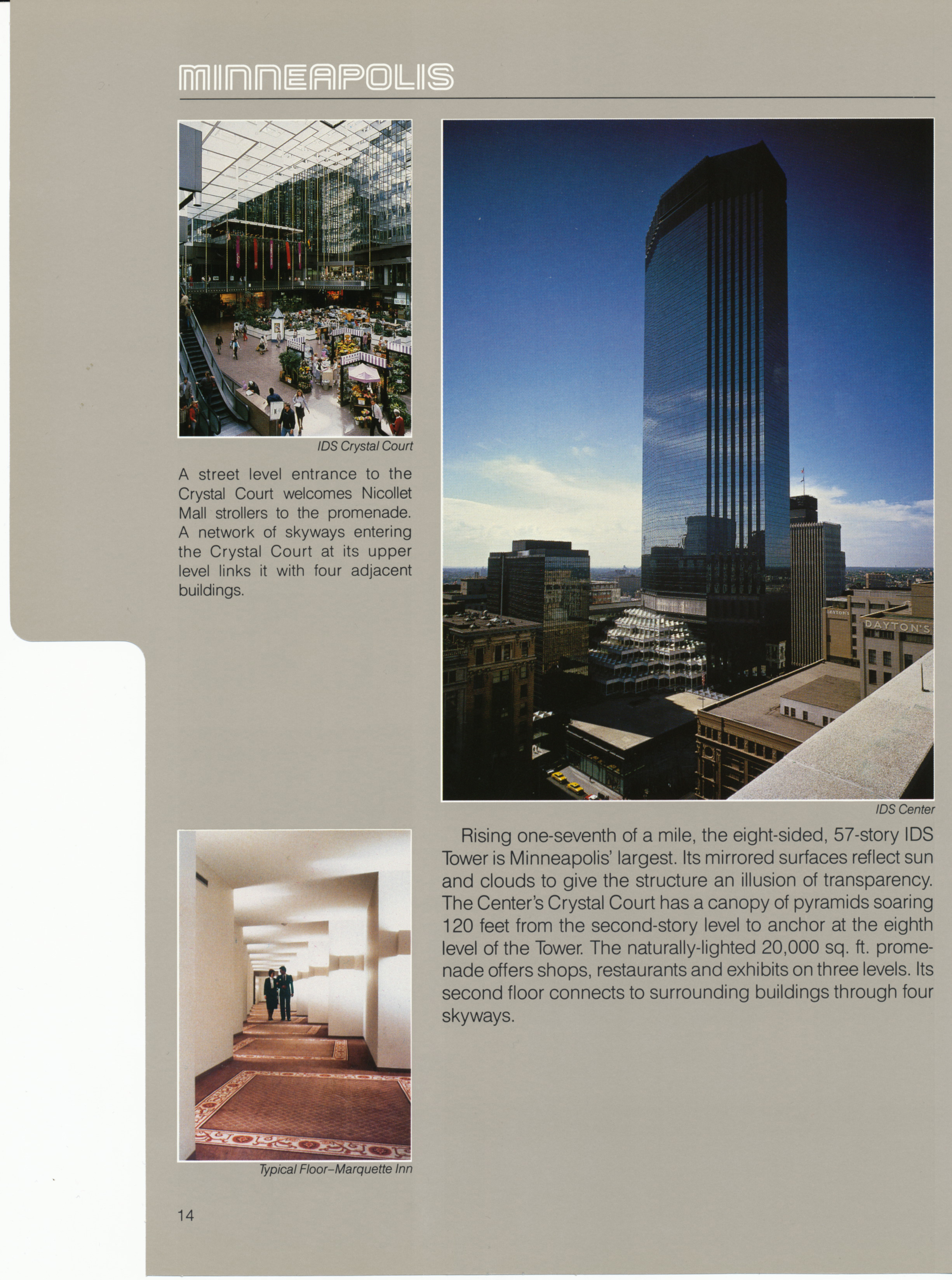 Brochure page for the IDS Center, featuring aerial and interior images.