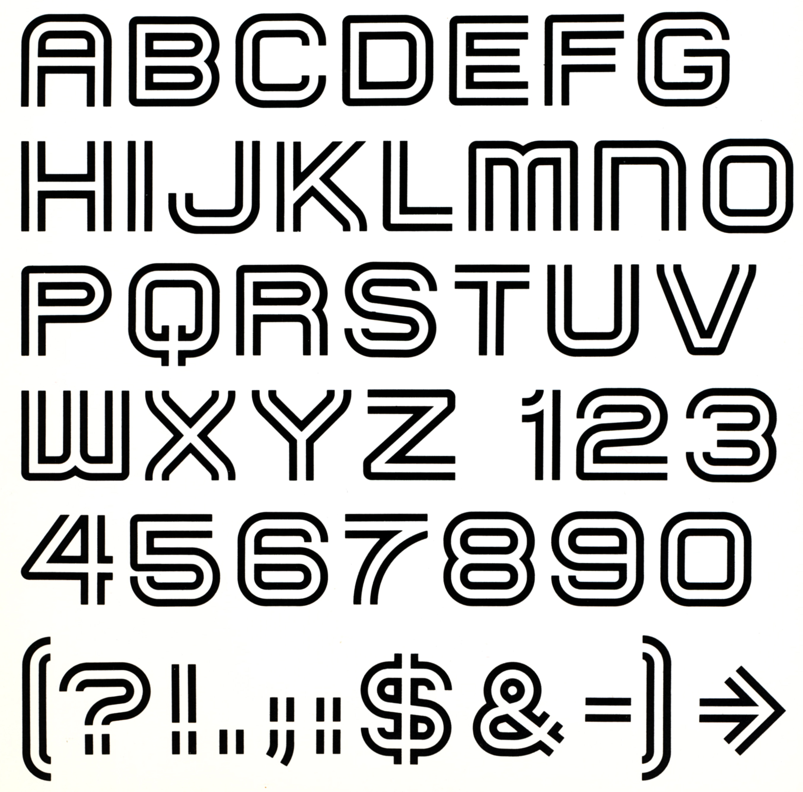 The Oxford typeface alphabet, numbers, and symbols featuring space within the stroke of the characters.